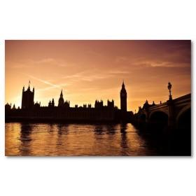 Αφίσα (Λονδίνο, ηλιοβασίλεμα, backingham, ποτάμι, γέφυρα)